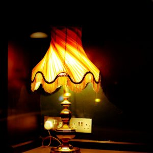 The warm lamplight
